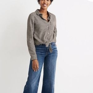 MADEWELL Flannel Tie Front Gingham Check Top NWT